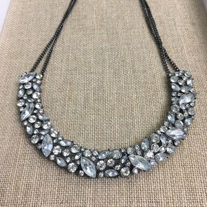 Black Faux Diamond Statement Necklace